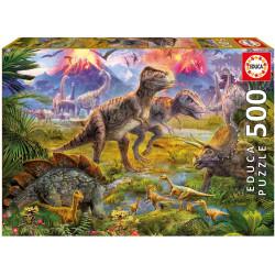 Puzzle Educa 500 piezas Encuentro de Dinosaurios