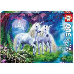 Puzzle Educa 500 piezas Unicornios en el Bosque