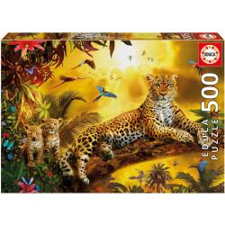 Puzzle Educa 500 piezas Leopardo con sus Cachorros