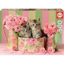 Puzzle Educa 500 piezas Gatitos con Rosas