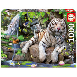 Puzzle Educa 1000 piezas Tigres Blancos de Bengala